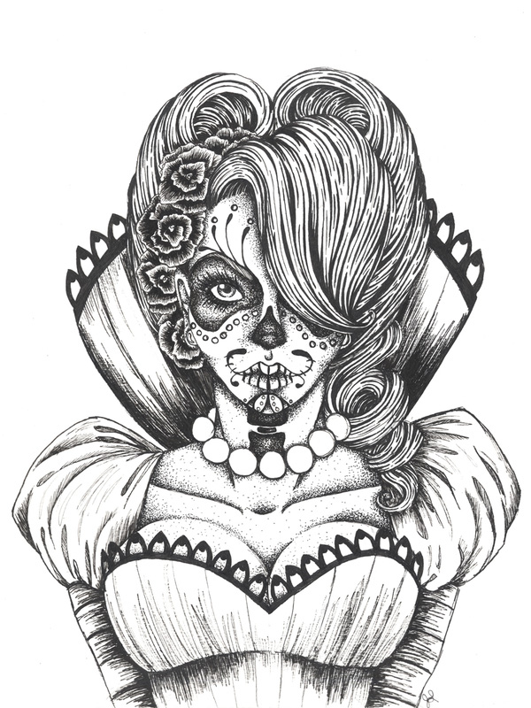 Happy D 237 A De Los Muertos Day Of The Dead Inspired Art Bleaq